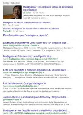 """Googlisation de """"Madagascar députés"""" à 8h du matin."""